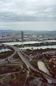 River Danube, Brigittenauer Brücke (bridge) and Millennium Tower in Vienna (view from Donauturm)
