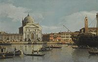 Venice, a view of the Churches of the Redentore and San Giacomo, with a moored Man-of-war, Gondolas and Barges.jpeg