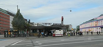 Vesterport Station - Vesterport S-train station has three entrances, this is the main one. The (mobile) little cart is a very typical Danish hot dog stand. Pølsevogn in Danish