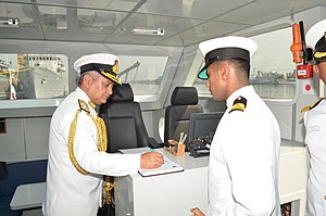 Immediate Support Vessel - Vice Admiral Satish Soni signing the visitor's book of T-39