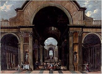 Vicente Giner - Interior of a basilica with musicians in concert around a table. Vicente Giner / oil on canvas / 121 x 167 cm. / 1660-1681 / Museu de Belles Arts de València.