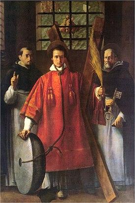 San Vicente ataviado de diácono con una rueda de molino en referencia a su sufrimiento