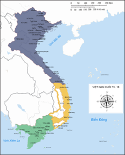 Dark blue: Nguyễn Huệ rules Northern Vietnam while his older brother Nguyễn Nhạc rules the middle (yellow) and green: ruled by Nguyễn Ánh.