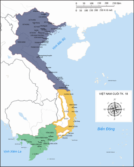 Vietnam at the end of the 18th century. The Tay Son army, including Nguyen Hue, ruled the north (purple); Nguyen Nhac the middle (yellow), and Nguyen Anh the south (green). Vietnam at the end of 18th century (Vi).png