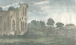 William Shenstone - The view from the ruined Halesowen Priory towards The Leasowes (on the crest of the hill on the right).