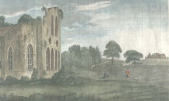 The Leasowes - The view from the ruined Halesowen Priory towards The Leasowes (on the crest of the hill on the right). It shows the house as it was during the lifetime of William Shenstone.