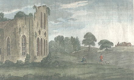 The view from the ruined Halesowen Priory towards The Leasowes (on the crest of the hill on the right). View from the ruined Halesowen Priory towards The Leasowes (c. 1750).jpg