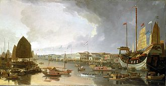 First Opium War - View of the European factories in Canton