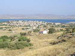 View of Moudros village and bay from SE.jpg