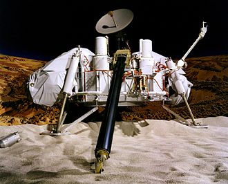 Viking program - Artist's concept depicting a Viking lander on the surface of Mars.