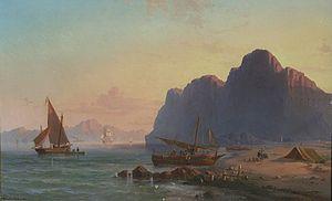 Vilhelm Melbye - Image: Vilhelm Melbye Gibraltar coastal scene