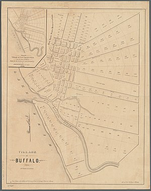 Buffalo, New York - An early map of the village of Buffalo and outer lots