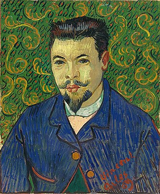 Health of Vincent van Gogh - Portrait of Doctor Félix Rey (F500, JH1659), oil on canvas 1889, Pushkin Museum. Rey disliked his portrait and gave it away.