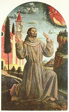 St Francis receiving the stigmata, from a painting by Vincenzo Foppa, from Wikimedia Commons