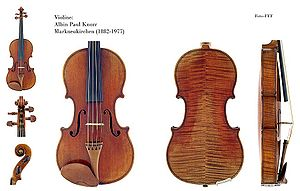 Violin construction and mechanics - Violin by Albin Paul Knorr, Markneukirchen, showing flame figure on back and ribs