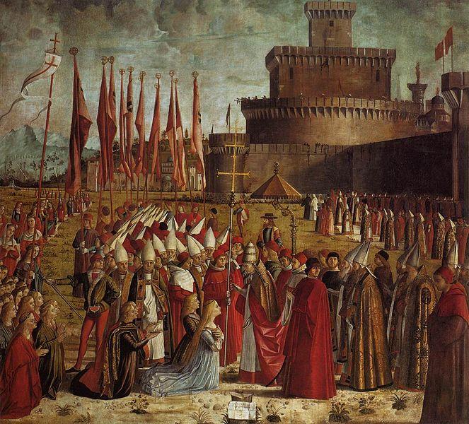 Datei:Vittore carpaccio, Pilgrims Meet the Pope 01.jpg
