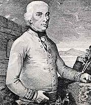 Half-length portrait of General Melas dressed in a white Austrian general's uniform with a decoration on his chest. Melas has white hair and keeps his right hand on his belt and his left one on a table, while looking to the right.
