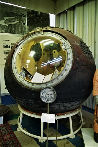 1961 in spaceflight - The Vostok 1 spacecraft, aboard which Yuri Gagarin became the first man to orbit the Earth on 12 April 1961