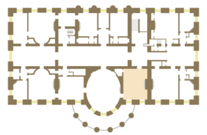 Treaty Room - Floor plan of the White House second floor showing location of the Treaty Room.
