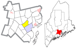 Location of Waldo (in yellow) in Waldo County and the state of Maine