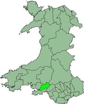 Lliw Valley - Lliw Valley shown within Wales