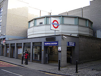 East London Line - Wapping station on the East London line, built into the original northern entrance shaft of the Thames Tunnel. The station was rebuilt in the early 1980s.