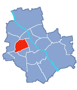 Location of Wola within Warsaw