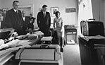 Watching flight of Astronaut Shepard on television. Attorney General Kennedy, McGeorge Bundy, Vice President Johnson... - NARA - 194236 (cropped).jpg
