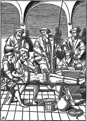 Water cure (torture) - The Water Torture—Facsimile of a woodcut in J. Damhoudère's Praxis Rerum Criminalium, Antwerp, 1556.
