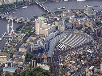 London Waterloo station - Aerial view from the south, showing Waterloo station, Waterloo and Hungerford Bridges and the London Eye