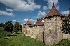 Weißenburg in Bayern, Stadtbefestigung, Schnazmauer 20 bis 26-20160813-001.jpg