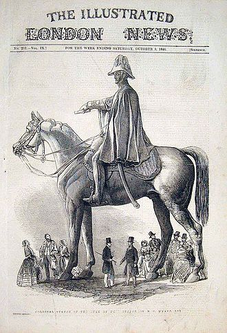 Equestrian statue of the Duke of Wellington, Aldershot - The completed statue in 1846 showing its dimensions