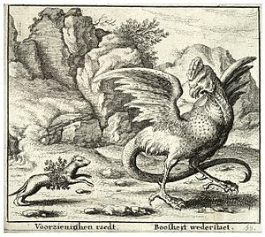 Basilisk - The basilisk and the weasel, in a print attributed to Wenceslas Hollar