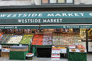 Food and water in New York City - A selection of produce outside a grocery store on the Upper West Side