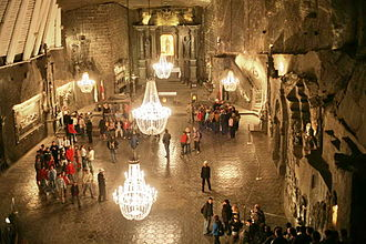 Stoping - A large stope in a salt mine in Poland - now converted into a tourist attraction