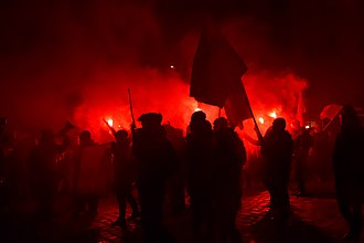 Flare - Red Flares used at a demonstration in Vienna