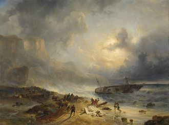 Hague School - Shipwreck on a Rocky Coast (1828-39) by Wijnand Nuyen