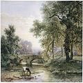 Willem Roelofs - Boomrijk landschap met stenen brug over een rivier.jpg