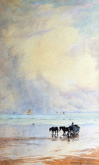 William Ayerst Ingram - Horse And Cart on Beach, watercolour