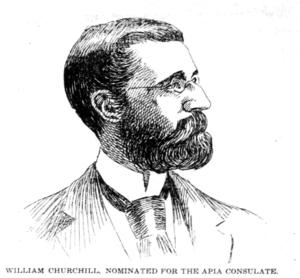 William Churchill (ethnologist) - Newspaper drawing of Churchill, 1896.