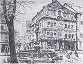 Willy Stahl (* 1882 in Heilbronn; † 1937 in Westernbach bei Öhringen), Radierung, Heilbronn - Einhornapotheke mit dem St.-Georgsbrunnen auf dem Hafenmarkt.jpg