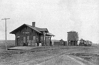 Wilmore, Kansas - Atchison, Topeka and Santa Fe Railway depot in Wilmore, 1900