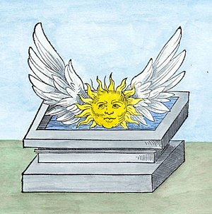 Winged sun - As an alchemcal symbol: a winged sun hovers over a sepulchre filled with water (from Rosary of the Philosophers).