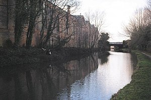 Wolverton railway works -  Old Wolverton railway works with Stephenson bridge, adjoins and crosses the Grand Union Canal