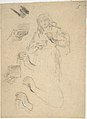 Woman holding an open jewelry box (recto); Studies for a figure composition and a leaded window (verso) MET DP805952.jpg