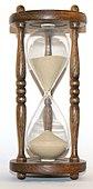 Ett timglas som mäter hur mycket tid som förflutit. Timglaset var en av de tidigaste tidmätarna.