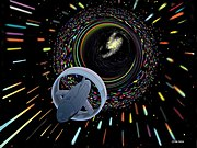 An artist's imaginative impression of a vehicle entering a wormhole for interstellar travel