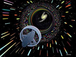 Wormhole travel as envisioned by Les Bossinas for NASA.jpg