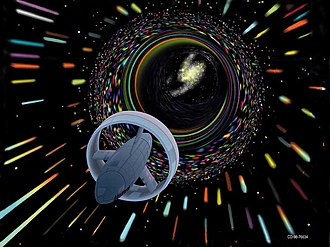 "Interstellar travel - Artist's depiction of a hypothetical Wormhole Induction Propelled Spacecraft, based loosely on the 1994 ""warp drive"" paper of Miguel Alcubierre."