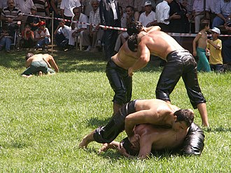 Folk wrestling - Yağlı güreş (Turkish oil wrestling) tournament in Istanbul